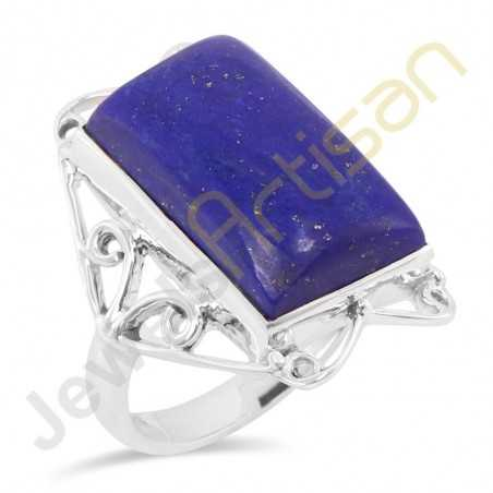 Natural Lapis Lazuli Solid Sterling Silver Handmade Statement Ring