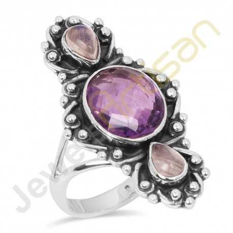 Amethyst, Rainbow Moonstone Multigemstone Solid Sterling Silver Ring