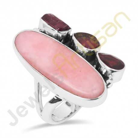 Natural Pink Opal, Tourmaline, Garnet Multigemstone Solid Sterling Silver Ring