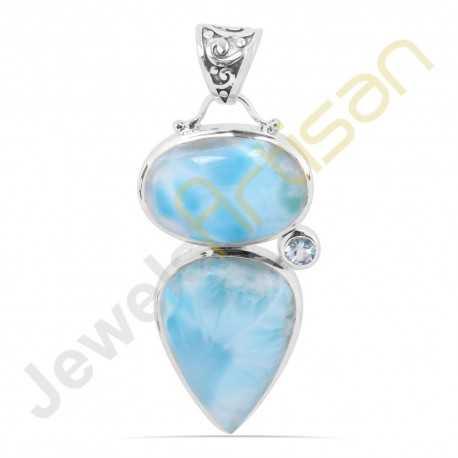 Larimar Swiss Blue Topaz Gemstone Sterling Silver Handmade Pendants