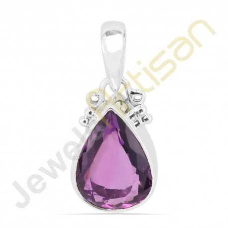 Natural Purple Amethyst faceted Gemstone Sterling Silver Handmade Pendants