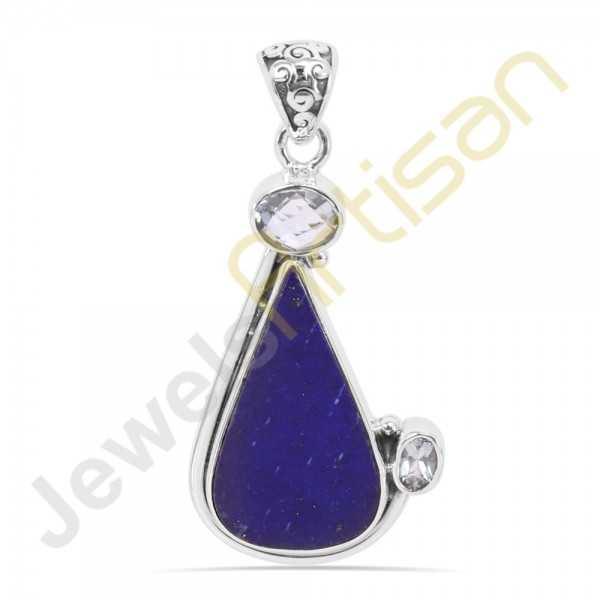 Lapis  Lazuli and Blue Topaz Gemstone 925 Sterling Silver Pendant