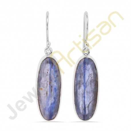 Natural Kyanite Gemstone Handmade Sterling Silver Earrings