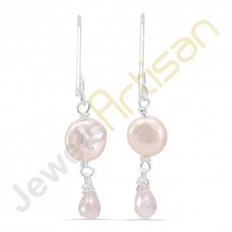 Fresh Water Pearl and Rainbow Moonstone Gemstone Handmade sterling silver Earrings