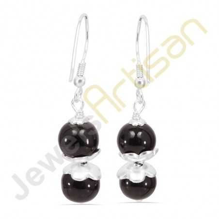 Natural Black Onyx Sterling Silver Earring-Wholesale Jewelry