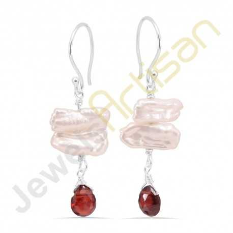 Biwa Pearl and Garnet Gemstone Handmade sterling silver Earrings