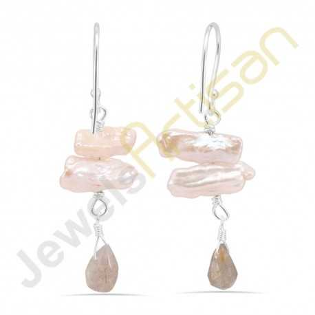Biwa Pearl and Labradorite Gemstone Handmade sterling silver Earrings