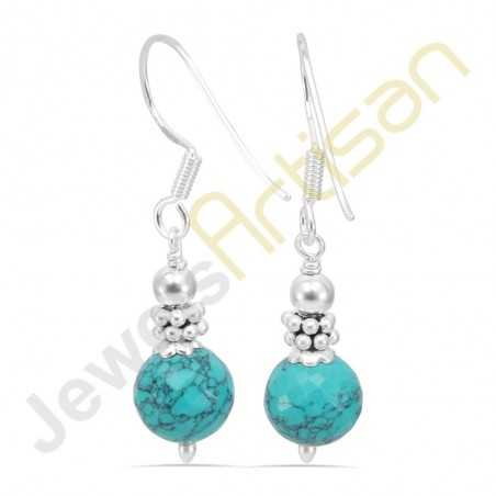 Turquoise Gemstone Handmade sterling silver Dangle Earrings