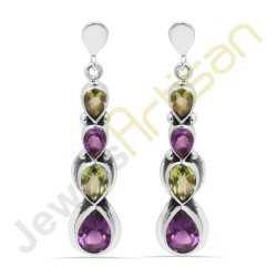 Purple Amethyst Peridot Sterling silver Earrings Wholesale Jewelry