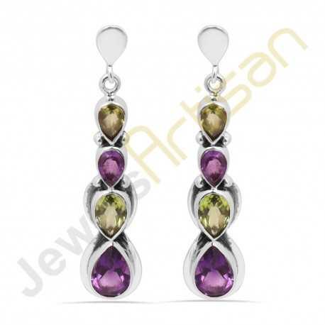 Purple Amethyst and Peridot Multigemstone Handmade sterling silver Earrings