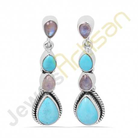 Arizona King's man Turquoise Multigemstone Handmade sterling silver Earrings