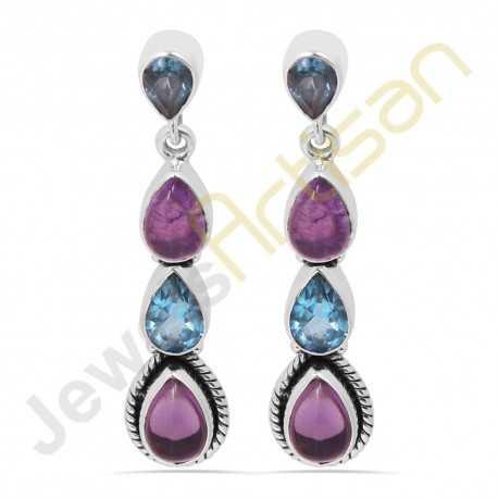 Purple Amethyst and Blue Topaz Multigemstone Handmade sterling silver Earrings