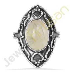 Prehnite Gemstone Designer Sterling Silver Ring