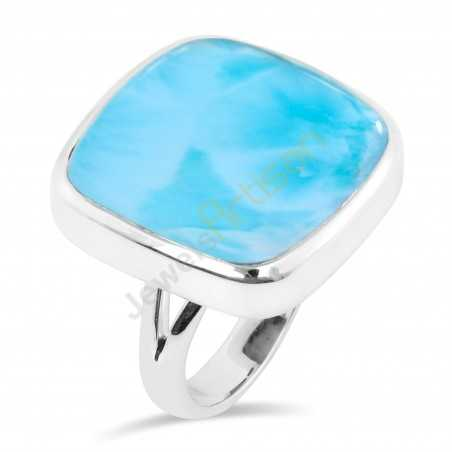 Natural Larimar Gemstone Sterling Silver Ring