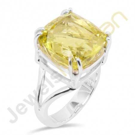 Lemon Quartz Gemstone Sterling Silver Ring