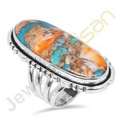 Natural Orange Spiny Oyster Turquoise Sterling Silver Ring