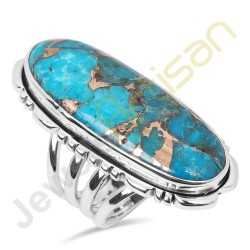 Natural Blue Copper Turquoise Sterling Silver Ring