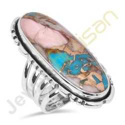 Natural Pink Spiny Oyster Turquoise 925 Sterling Silver Ring
