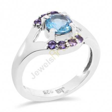 Blue Topaz, Iolite Gemstone Sterling Silver Statement Ring