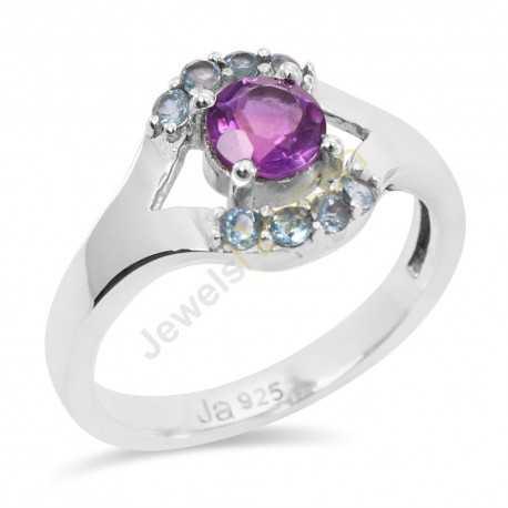 Amethyst and Blue Topaz Gemstone 925 Sterling Silver Ring