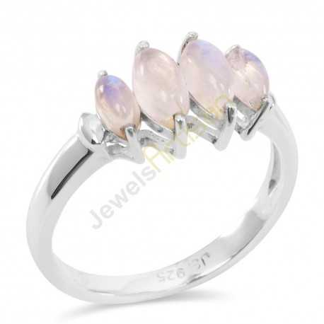 Rainbow Moonstone Rings 925 Sterling Silver Ring