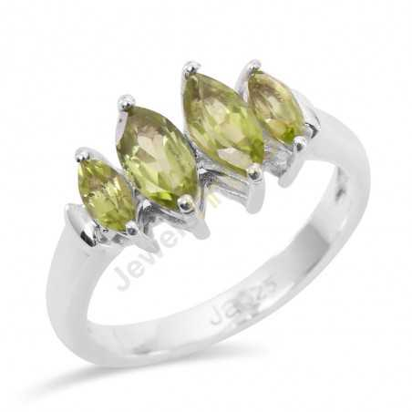 Natural Peridot Gemstone Sterling Silver Engagement Ring