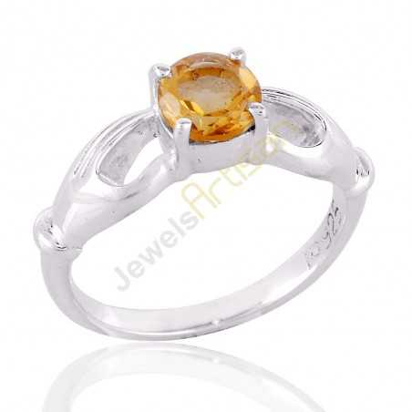 Citrine Gemstone 925 Sterling Silver Handmade Ring, Solitaire Citrine Rings for Women