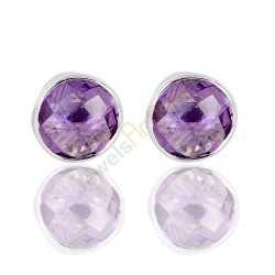 Natural Purple Amethyst Gemstone 925 Sterling Silver Stud Earrings.