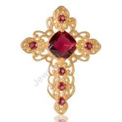 Garnet Cross Pendant Gold Plated Fashion Designer Cross Pendant With Red Gemstone