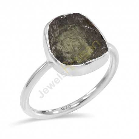 Certified Moldavite Ring Natural Molavite Sterling Silver Ring for Him and Her