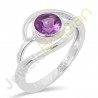 Natural Purple Amethyst Gemstone 925 Sterling Silver Solitaire Ring