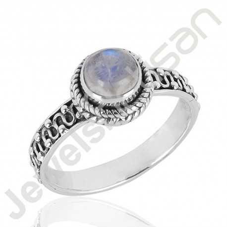 Natural Rainbow Moonstone Gemstone Ring 925 Sterling Silver Ring