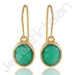 Green Onyx Earring 925 Solid Silver Earring Gold Plated Dangle Drop Earring
