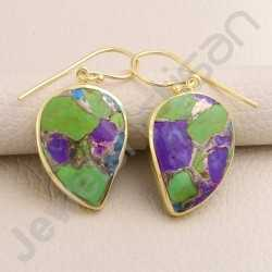 Turquoise Earring 925 Solid Silver Earring Gold Plated Earring Fancy Turquoise Gemstone Dangle Drop Handmade Earring