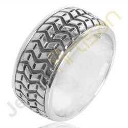 Band Ring, Tire Design Ring, 925 Sterling Silver Ring, Fashionable Ring