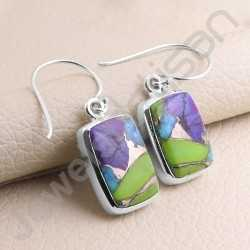 925 Sterling Silver Earring Turquoise Earring Handcrafted Earring 10x15mm Cushion Turquoise Gemstone Fashionable Earring