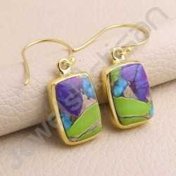 925 Solid Silver Earring Turquoise Earring  1 Micron Gold Plated Earring 10x15mm Cushion Gemstone Handmade Silver Earring