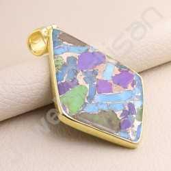 Turquoise Pendant 925 Solid Silver Pendant Gold Vermeil Pendant Fancy Kite Shape Handcrafted Silver Statement Pendant