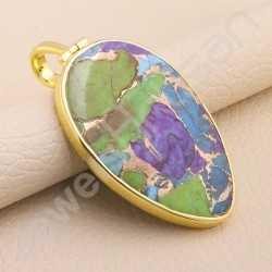 925 Solid Silver Pendant Turquoise Pendant Handcrafted Pendant 1 Micron Gold Plated Pendant Silver Statement Fancy Pendant