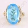 Sky Blue Quartz Ring White Cubic Zirconia Ring Fashion Brass Ring Gold Plated Ring