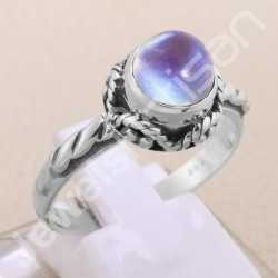 Rainbow Moonstone Ring 925 Sterling Silver Ring Classic Solitaire Ring Rope Design Round 8x8mm Handcrafted Silver Ring