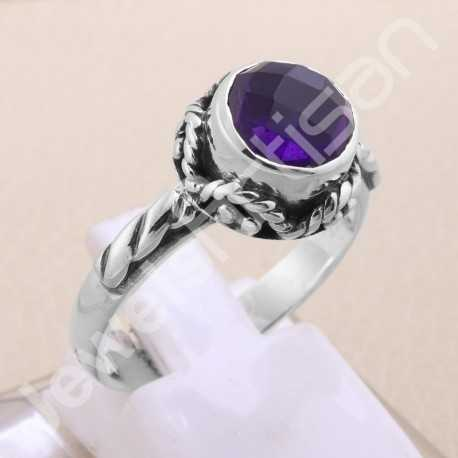 Amethyst Ring 925 Sterling Silver Ring Solitaire Silver Ring Handcrafted Silver Ring February Birthstone Ring