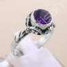 925 Sterling Silver Ring Purple Amethyst Ring Classic Solitaire Silver Ring February Birthstone 8x8mm Round Amethyst Ring