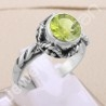 925 Sterling Silver Ring Peridot Ring Classic Solitaire 8x8mm Round Handcrafted Silver Designer Silver Ring