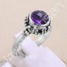 Purple Amethyst Ring 925 Sterling Silver Ring Handmade Silver Ring 8x8mm Round Cut Amethyst Gemstone Luxury Ring for Women