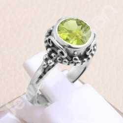 925 Sterling Silver Ring Peridot Gemstone Ring Classic Solitaire Ring Designer 8x8mm Round Peridot Gemstone Handmade Silver Ring