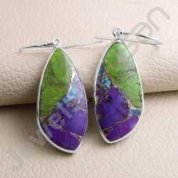 Handcrafted Earring Turquoise Earring 925 Sterling Silver Earring Fancy Shape Turquoise Gemstone Dangle Drop Earrings