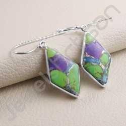 925 Sterling Silver Earring Turquoise Earring Handcrafted Earring Fancy Rhombus Design Dangle Drop Designer Earring