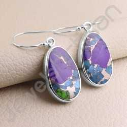 Turquoise Earring Handcrafted Earring 925 Sterling Silver Earring Oval Natural Turquoise Gemstone Dangle Drop Earring