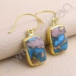 Turquoise Earring Gold Vermeil Earring 925 Solid Silver Handmade Earring Turquoise Gemstone 10x15mm Cushion Earring for Women